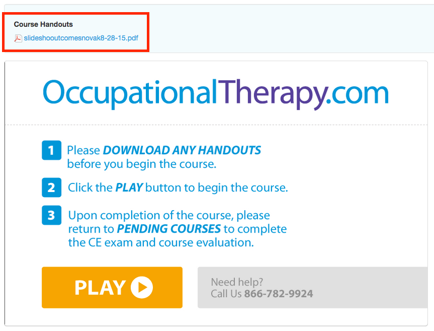 Example of Recorded Course Handouts